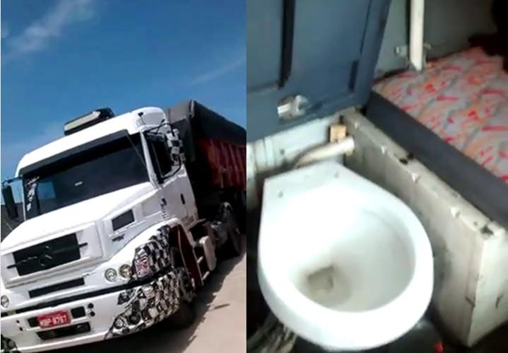 Caminhoneiro instala vaso sanitário dentro da cabine do caminhão