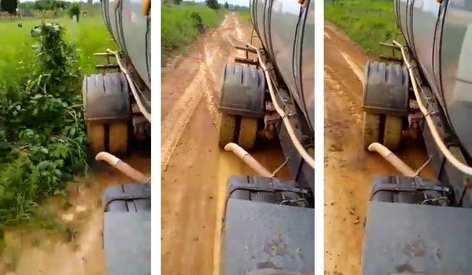 Vídeo mostra caminhoneiro fazendo drift com caminhão de leite