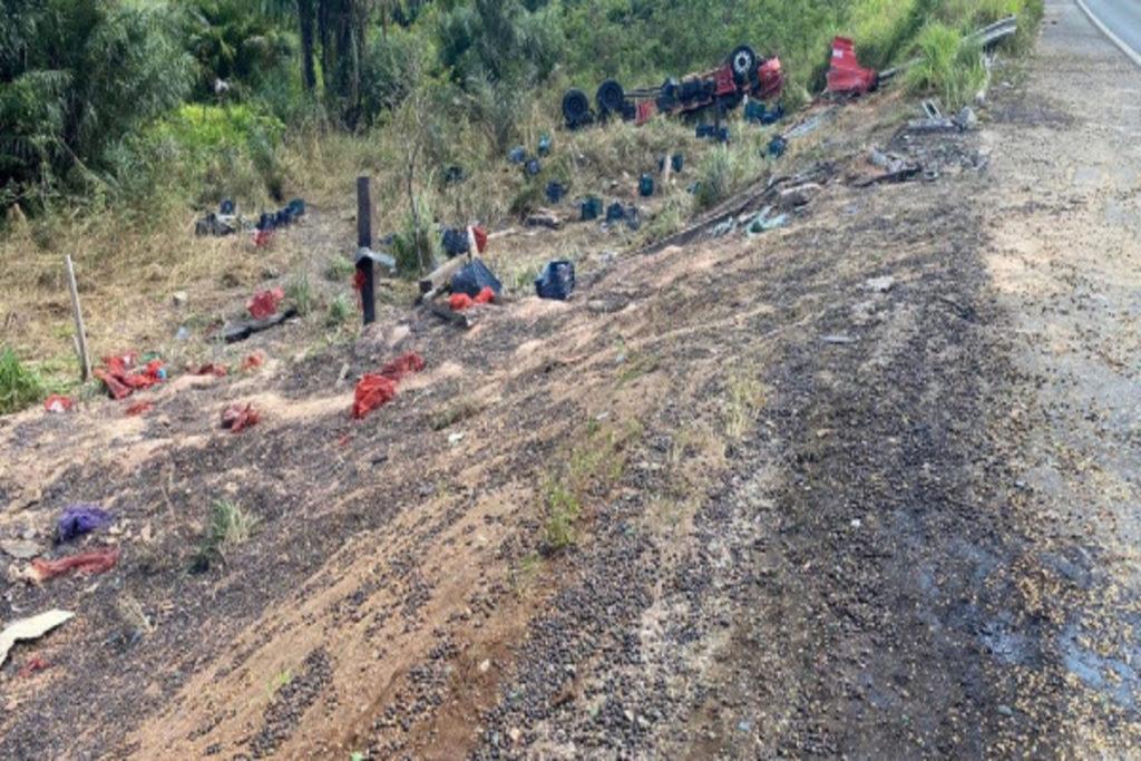 Realidade do Brasil Caminhoneiro e caroneiro morrem após acidente e população saqueia carga 1