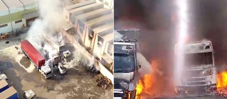 Incêndio atinge pátio de transportadora e destrói carretas em Franca/SP