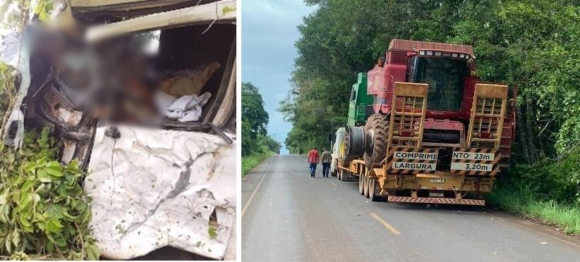 Caminhoneiro morre ao colidir contra pneu de colheitadeira que era transportada em carreta no MT