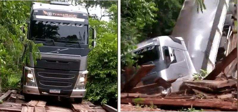 Vídeo mostra momento que ponte desaba com peso de Rodo-caçamba